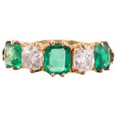 Victorian Emerald and Diamond Five-Stone Ring