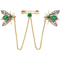 Victorian Emerald and Diamond Fly Scatter-Pin Brooch