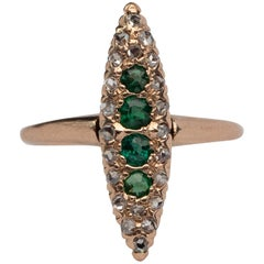 Victorian Emerald and Diamond Rose Gold Navette Ring