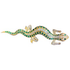 Victorian Emerald and Diamond Salamander Brooch