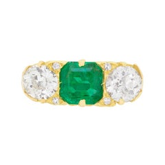 Victorian Emerald and Diamond Three-Stone Ring, circa 1900s