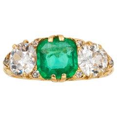 Victorian Emerald and Diamond Three-Stone Ring