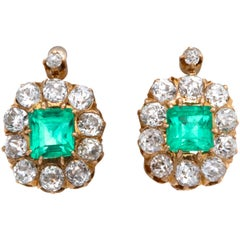 Victorian Emerald Diamond 18 Karat Gold Earrings