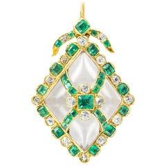 Victorian Emerald, Diamond and Crystal Pendant