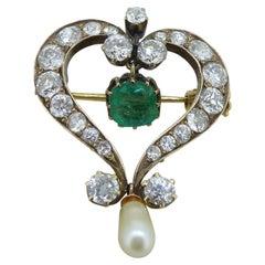 Victorian Emerald, Diamond and Pearl Pendant Brooch