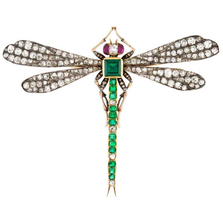 Victorian Emerald, Diamond and Ruby Dragonfly Brooch For Sale
