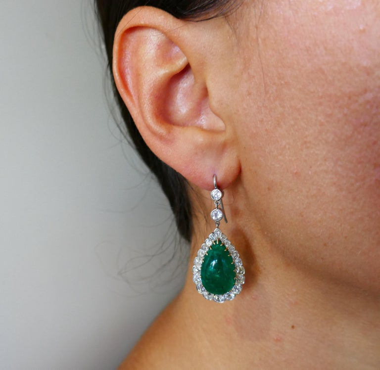 Victorian Emerald Diamond Dangle Earrings in Gold and Silver, Antique In Good Condition For Sale In Beverly Hills, CA