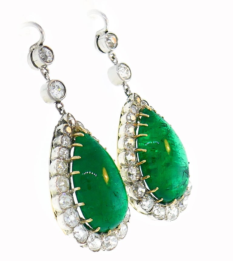 Women's Victorian Emerald Diamond Dangle Earrings in Gold and Silver, Antique For Sale