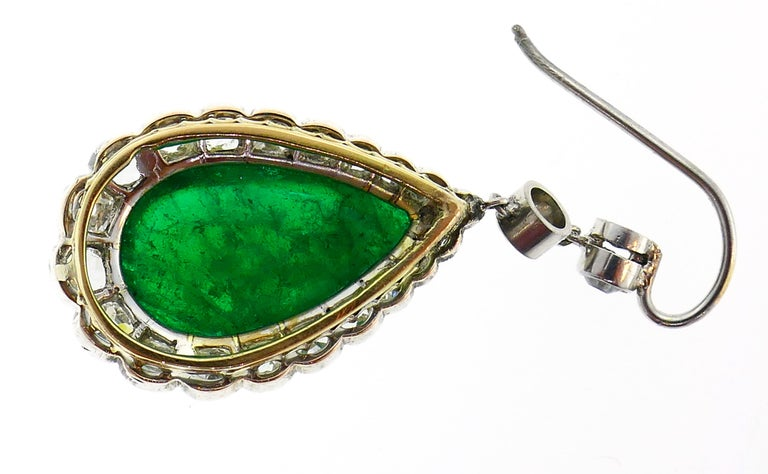 Victorian Emerald Diamond Dangle Earrings in Gold and Silver, Antique For Sale 2