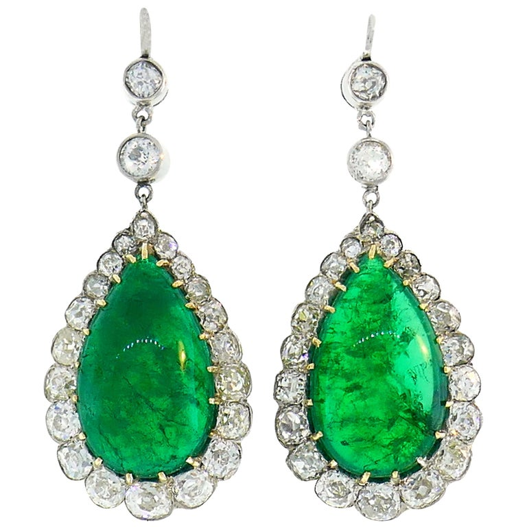 Victorian Emerald Diamond Dangle Earrings in Gold and Silver, Antique For Sale