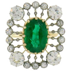 Victorian Emerald Diamond Gold Ring, 1900s