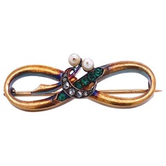 Victorian Emerald Diamond Pearl Gold Pin