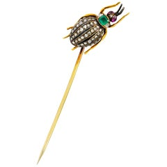 Victorian Emerald Diamond Ruby 14 Karat Gold Weevil Beetle Insect Stickpin