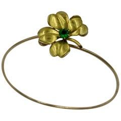 Victorian Emerald Four Leaf Clover Bracelet 14 Karat Gold Adjustable
