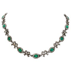 Victorian Emerald Green and Clear Paste and Silver Rivière