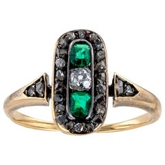 Victorian Emerald Old Mine Cut Diamond Yellow Gold Ring