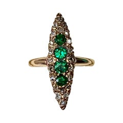 Victorian Emerald Rose Cut Diamond Ring Marquise Gold Antique Wedding Engagement