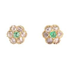 Victorian Emerald Rose Cut Diamond Stud Earrings