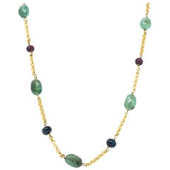 Victorian Emerald Sapphire Ruby 14 Karat Gold 27 Inch Station Necklace
