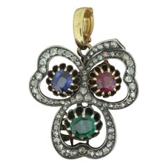 Victorian Emerald, Sapphire, Ruby and Diamond Clover Pendant / Brooch