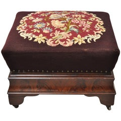 Victorian Empire Large Crotch Flame Mahogany Needlepoint Box Seat Ottoman