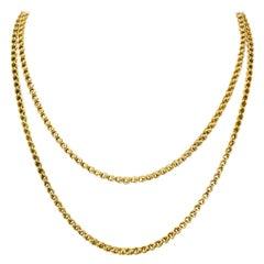 Victorian Enamel 10 Karat Gold Barrel Clasp Long Chain Necklace