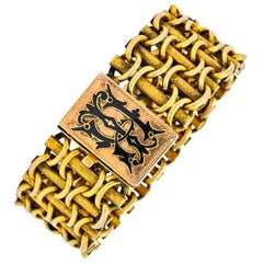 Victorian Enamel 14 Karat Gold Wide Link Bracelet