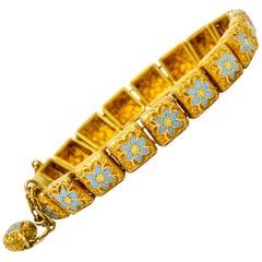 Victorian Enamel 18 Karat Gold Flower Link Child's Bracelet, circa 1880s