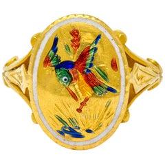 Victorian Enamel 24 Karat Yellow Gold Hummingbird Signet Ring