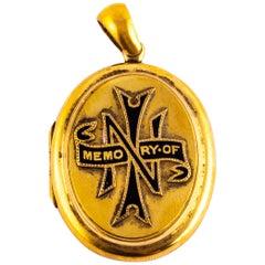 Victorian Enamel and 18 Carat Gold Locket