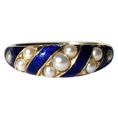 Victorian Enamel and Pearl 18 Carat Gold Band