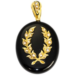 Victorian Enamel and Seed Pearl Mourning Locket