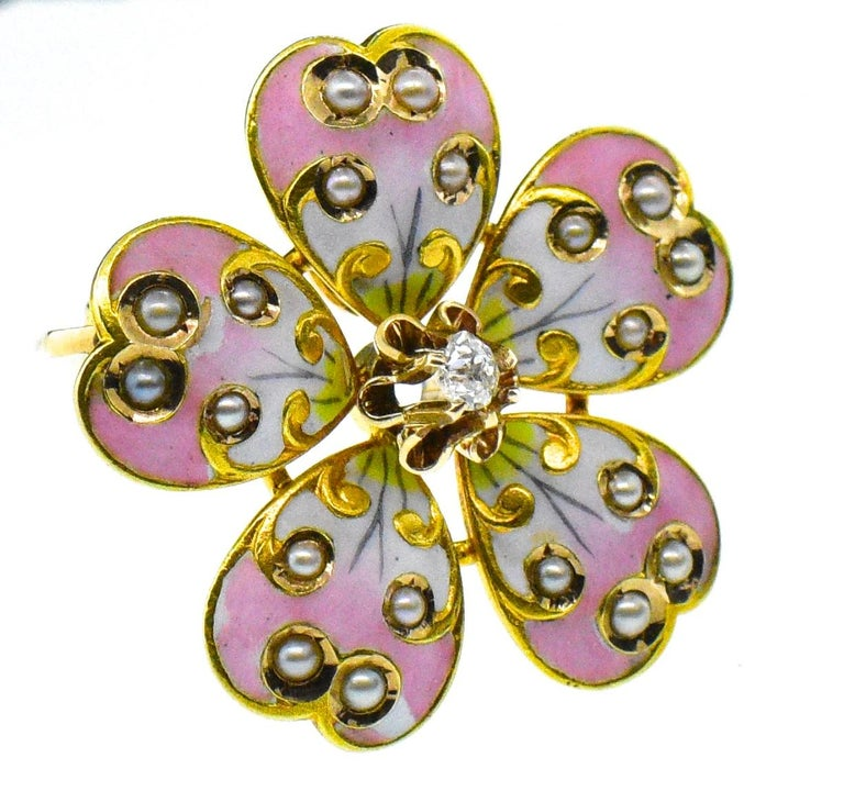 Victorian Enamel, Diamond and Natural Seed Pearl Necklace or Brooch In Good Condition For Sale In Aspen, CO