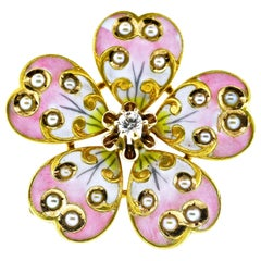 Victorian Enamel, Diamond and Natural Seed Pearl Pendant/ Brooch, circa 1890