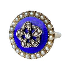 Victorian Enamel, Diamond and Pearl 15 Carat Gold Ring
