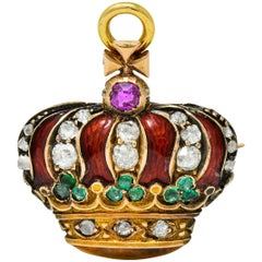 Victorian Enamel Diamond Emerald Ruby 18 Karat Gold Imperial Crown Pendant Watch