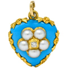 Victorian Enamel Diamond Natural Pearl 18 Karat Gold Mourning Heart Pendant