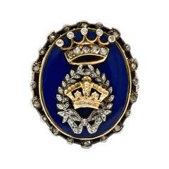 Victorian Enamel Diamond Silver-Topped 14 Karat Gold Crown Ring