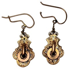 Victorian Enamel Gold Door Knocker Pendant Earrings 14 Karat Gold