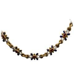 Victorian Enamel Necklace 18 Karat Yellow Gold