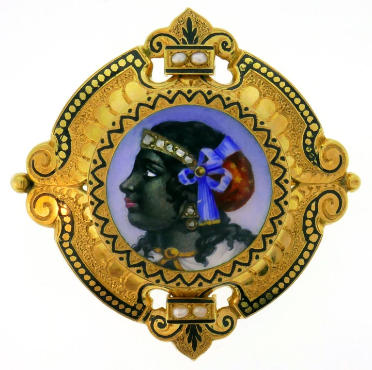 Victorian Enamel Painting Gold Pin Brooch Necklace Pendant In Good Condition For Sale In Beverly Hills, CA