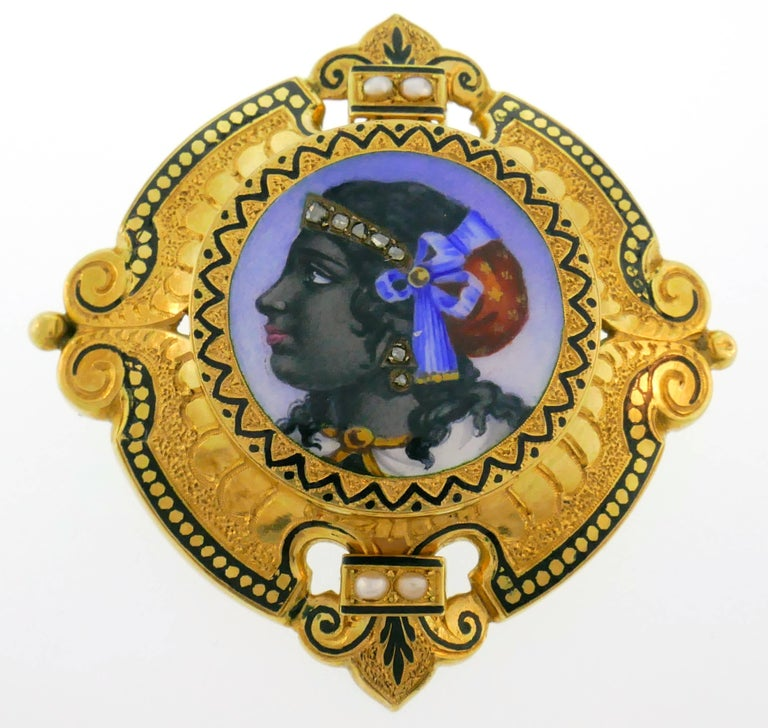 Women's Victorian Enamel Painting Gold Pin Brooch Necklace Pendant For Sale