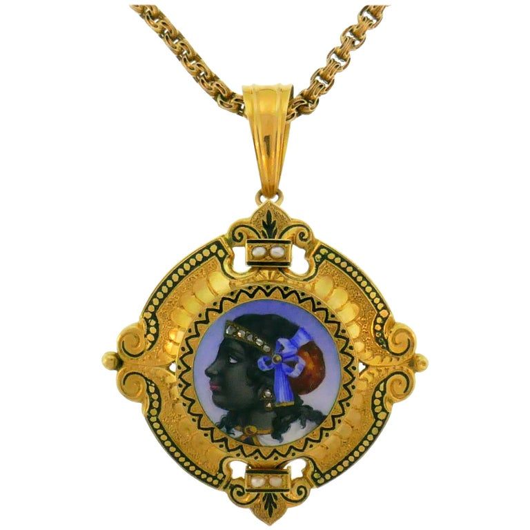 Victorian Enamel Painting Gold Pin Brooch Necklace Pendant For Sale