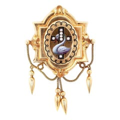 Victorian Enamel Pearl Gold Brooch Locket