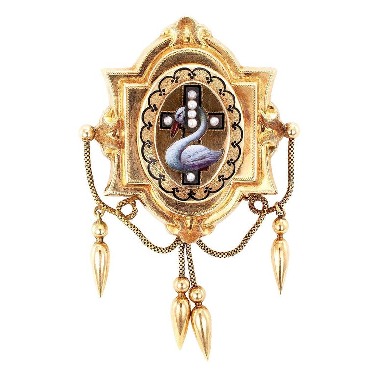 Victorian Enamel Pearl Gold Brooch Locket For Sale