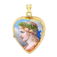 Victorian Enamel Rose Cut Diamond 14 Karat Gold Mourning Locket