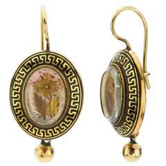Victorian Enamel Yellow Gold Earrings