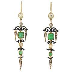Victorian Enameled Diamond and Emerald Earrings