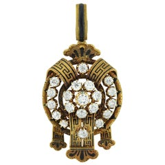 Victorian Enameled Diamond Pendant 6 Total Carat