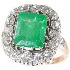 Victorian Engagement Ring with Brilliant Cut Diamond and Large Certified Emerald